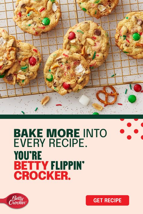 You could have stopped at one mix-in, but that's not really your style. Kitchen-Sink Christmas Cookies are the holiday dessert that looks and tastes like everything you love about the season. Begin with Betty Crocker chocolate chip cookie mix and add in everything from green and red candies and pretzels to peanuts and sprinkles. This recipe puts sweet, salty, chewy, and gooey at the top of your cookie-making list.