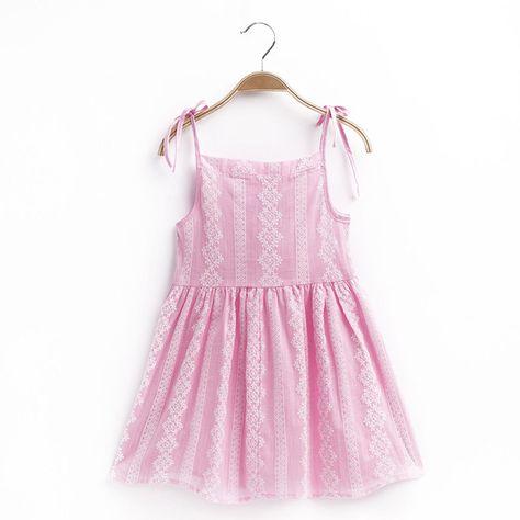 55ac19b34d5 5.89AUD - Kids Girls Princess Dress Summer Sleeveless Cotton Pink Mini  Sundress 1-8 Years  ebay  Fashion