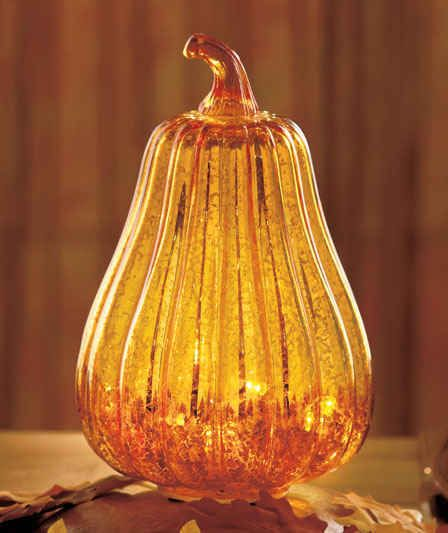 Antiqued Glass Lighted Harvest Decor SQUASH Gives Off A Soft Autumn