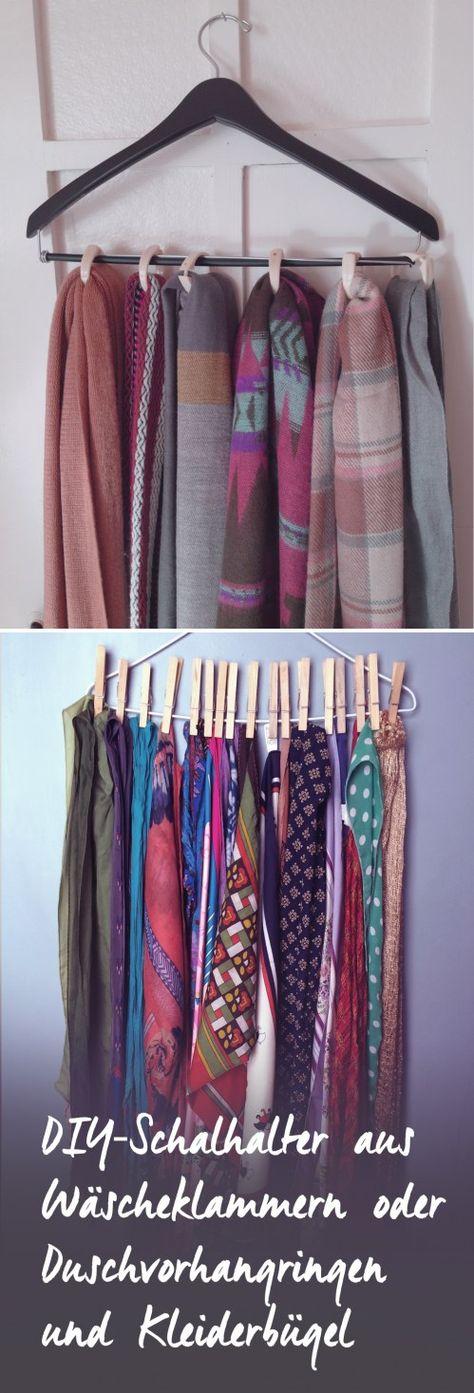 DIY-Schalhalter aus Kleiderbügeln und Wäscheklammern oder Duschvorhangringen
