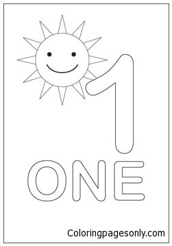 Number One With The Sun Coloring Page Numbers Preschool Preschool Printables Preschool Fun