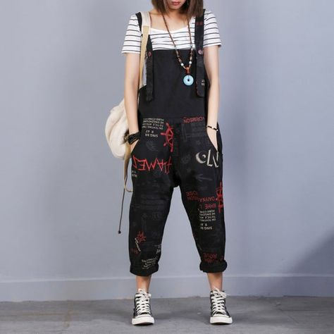 Womens Summer Printed Floral Casual Overalls With Pockets, Loose Pants With Pockets, Baggy Pants, Ca