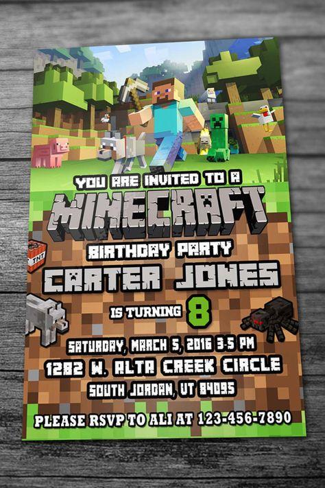 Minecraft birthday invitation with thank you card by inviteseshop minecraft birthday invitation with thank you card by inviteseshop filmwisefo