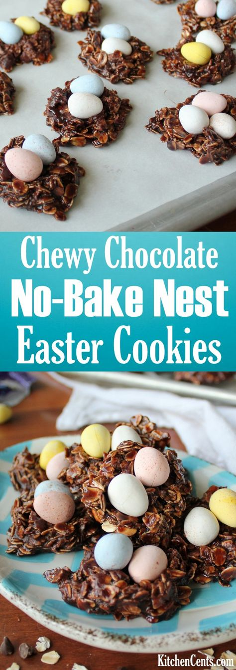 Easy Chocolate No-Bake Easter Nest Cookies | Delicious chocolate Easter treat recipe | No-Bake Easter treat perfect for a quick chocolate fix or last minute Easter treat | Filled with Cadbury mini eggs, these little nest cookies will be loved by all this Easter! | Make these delicious Easter no-bake cookies in 5 minutes!