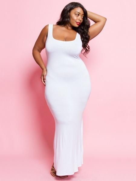 Basic Plus Size Tank Maxi Dress in White | White dress ...