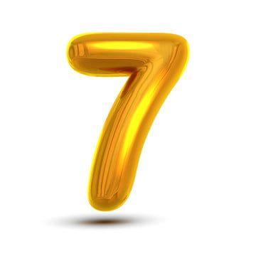 7 Seven Number Vector Golden Yellow Metal Letter Figure Digit 7 Numeric Character Alphabet Typography Design Element Party Foil Symbol Numeral Bright Metallic 3 Number Vector Metal Letters Typography Design