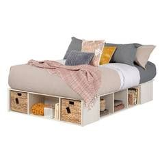 Lilak Storage Platform Bed With Wicker Baskets South Shore