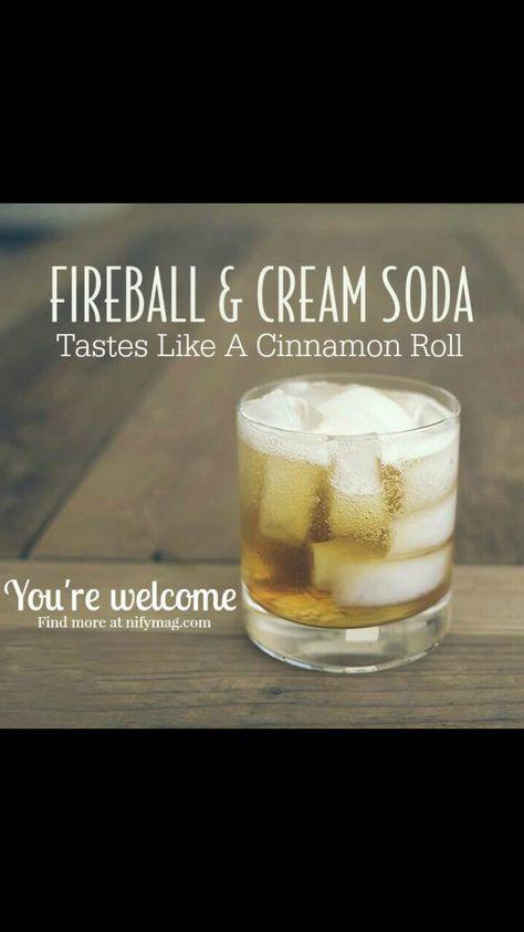Cinnamon roll cocktail Fireball and cream soda or whipped Cream vodka Fireball Drinks, Fireball Recipes, Fireball Whiskey, Liquor Drinks, Alcohol Drink Recipes, Cocktail Drinks, Alcoholic Drinks, Cocktail Recipes, Shots Drinks
