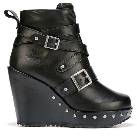 Harley Davidson Women's Linley Wedge Booties (Black Leather)