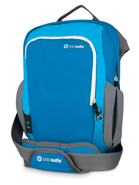 The ocean blue Venturesafe 300 GII travel bag.