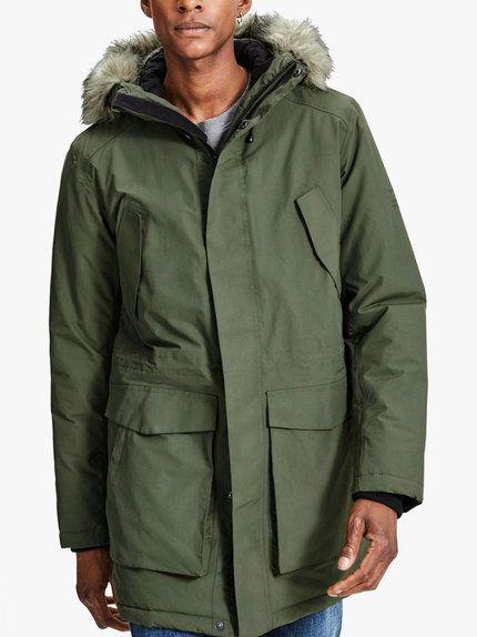 Jack Jones Parka Jacket Olive Night Designer Clothes For Men Parka Jacket Mens Outfits