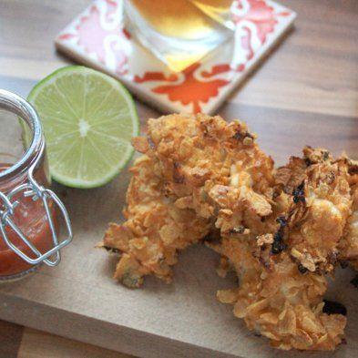 Bouchées de poulet croquant / Narrow-minded of crisp chicken with corn flakes, La Cantine des cousins