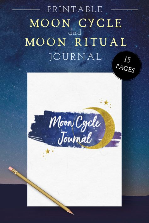 Take full advantage of the moon's changing energy with the Printable Moon Cycle & Moon Ritual Journal. Find out how to utilise each moon phase and apply it to your current goals to manifest them more efficiently together with the New and Full Moon Rituals. You can use the journal for your own self-care routine and deepen your spiritual connection with the moon #moonjournal #printablemoonjournal #newmoonritual #fullmoonritual #moonphases #moonmanifesting #moonselfcare