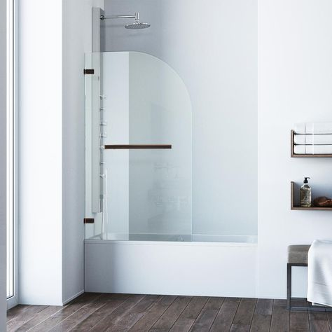 Frameless Hinged Tub Door In Antique