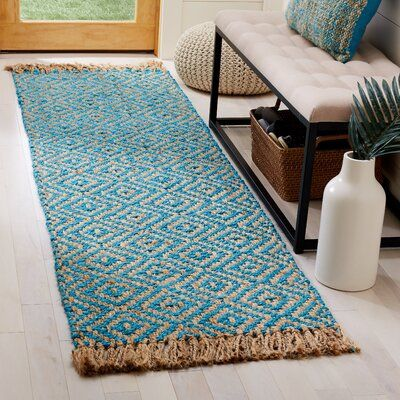 Bungalow Rose Miami Springs Southwestern Jute Sisal Turquoise Natural Area Rug In 2020 Natural Area Rugs Area Rugs Midnight Blue Area Rug