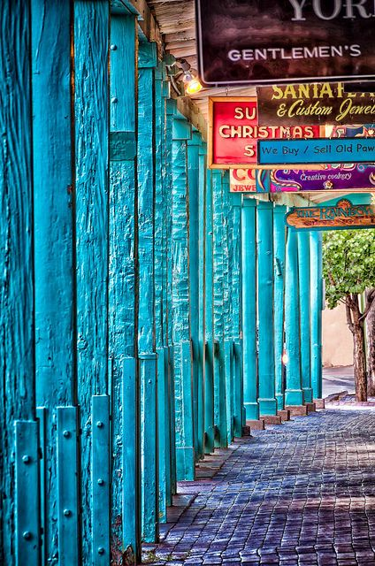 East Palace Avenue, Santa Fe. This is one of the older sections of the city and it is filled with hidden courtyards.