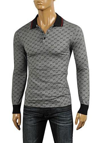 3911f143a69 Mens Designer Clothes | GUCCI Men's Long Sleeve Polo Shirt #308