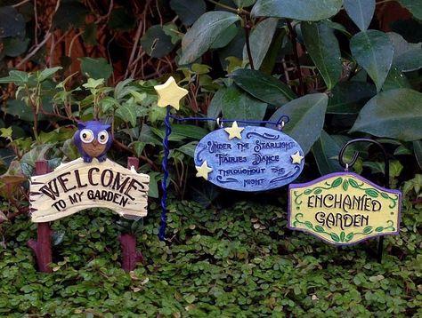 Miniature Dollhouse Fairy Garden Glow In Dark 3 Signs Picks Enchanted Welcome