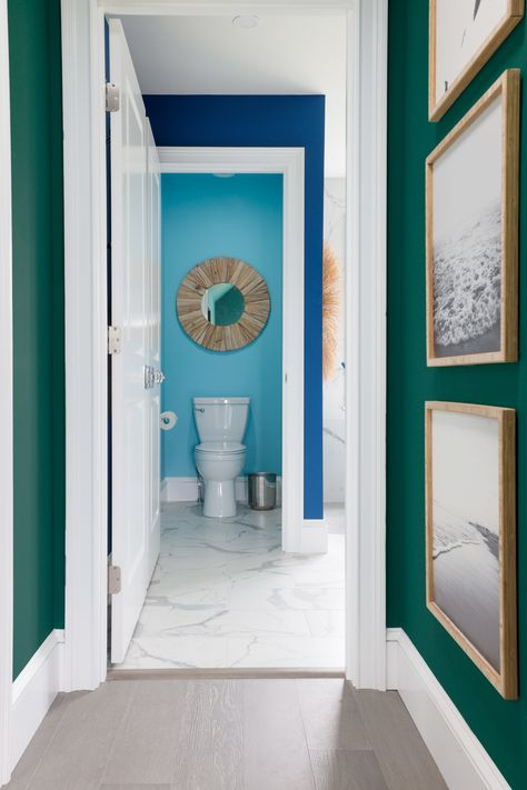 Mother Nature knows best! 🌊 Use colors from the same Color Collection—like the ones from Delightfully Daring seen here in HGTV Dream Home 2021—to unify bold color choices. 🎨 Sponsored by HGTV Home® by Sherwin-Williams.