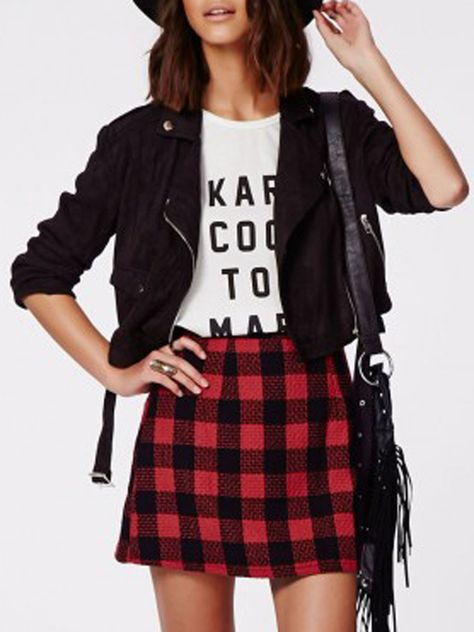 bd97d82cb Shop Red Contrast Check Print A-line Woolen Skirt from choies.com ...