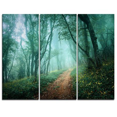 Designart Light Green Mystical Fall Forest 3 Piece Graphic Art On Wrapped Canvas Set Photo Canvas Art Canvas Art Prints Forest Landscape