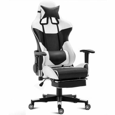 Costway White Ergonomic Gaming Chair Upholstery High Back Racing Office Chair With Lumbar Support And Foo In 2020 Chair Drawing Gaming Chair Restaurant Chairs For Sale