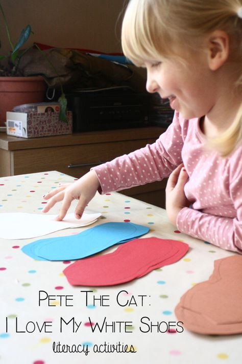 Encourage children's love of literacy by bringing books alive through activities. To go with the book Pete the Cat, I love my white shoes create some simple fun literacy activities with ideas included in the post for less and more able children as well.
