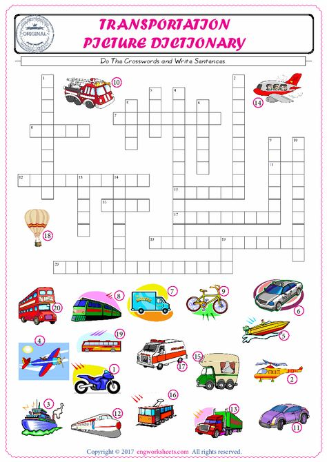 Complete The Crossword Using The Transportation Of Pictures