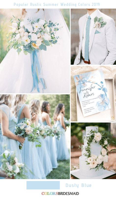 8 Popular Rustic Summer Wedding Color Ideas for 2019 Dusty Blue wedding themes 8 Popular Rustic Summer Wedding Color Ideas for 2019