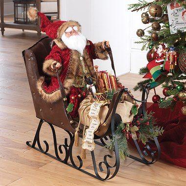 Large Santa In Sleigh Christmas Decoration Artesanias Navidenas Navidad Decoration Decoracion De Navidad