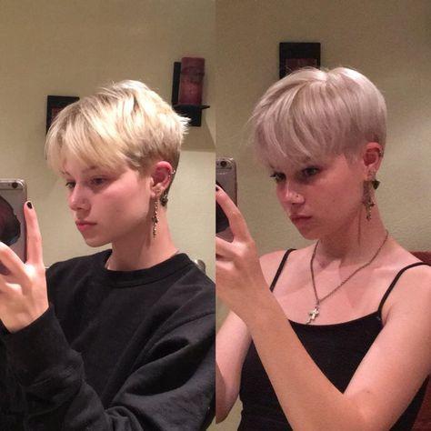 Tomboy Hairstyles, Girl Haircuts, Cool Hairstyles, Girl Short Hair, Short Hair Cuts, Short Hair Tomboy, Short Bleached Hair, Soft Grunge Hair, Poofy Hair