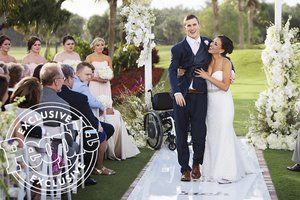Watch Groom Paralyzed Playing Football Walks Down The Aisle The Accident Brought Me To Her Wedding Groom Wedding Dresses Lace