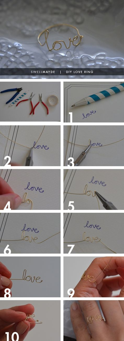 DIY love ring.. could try making it into a bracelet. Also can make a ring say SMILE and another one say LIFE. Easy tutorial pics.