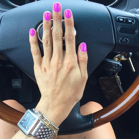 """Samantha Belbel: Took a break from the lighter colors and went with this super bright purple/pink I'm loving it! Color is """"Tokyo a Go Go"""" by Gelish. Check out my waffle iron battle wound"""