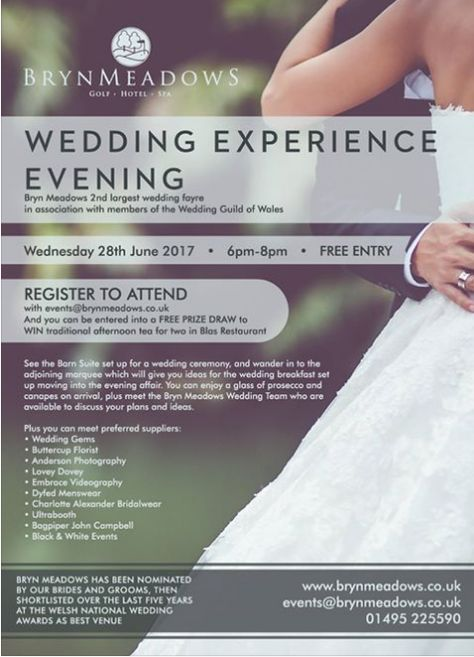 Last Chance To Pre Register Attend Bryn Meadows Golf Hotel Spa Wedding Experience Evening Tonight From 6pm I Ll Be Displaying Playing Th