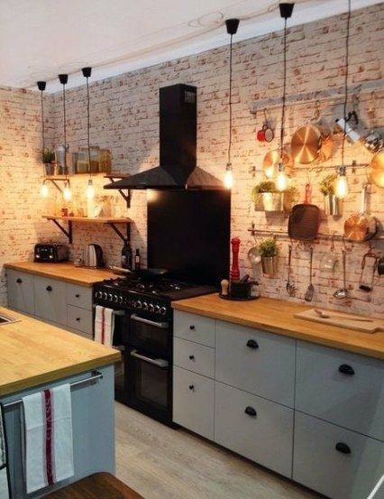 64 Trendy Kitchen Lighting Black Stove Kitchen In 2020 Rustic