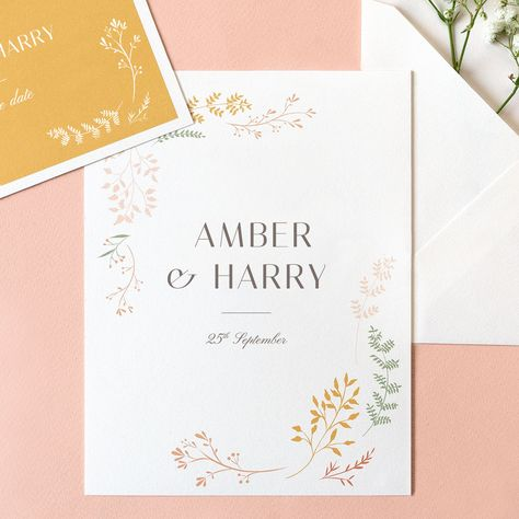 "Have your guetss whisked away to the summer's eve of your wedding with these wonderful floral wedding invites ""Summer Breeze"" #weddinginvitations #summerwedding #floralwedding #floralinvitations"