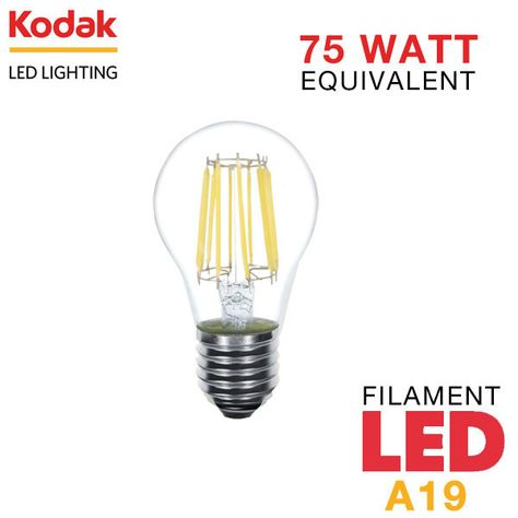 Kodak Vintage Filament Led A19 Bulb 8 Watts 75 Watt Equal Dimmable Led Light Bulbs Led Lights Led Light Bulb