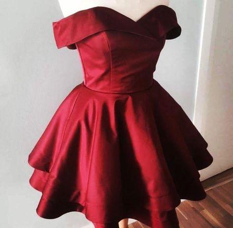 0c4b07bda0 Dresses Video Shows Item Description   A Chic Satin Semi Formal Dresses  Featuring a off-the-shoulder Neckline and Ruffles Hem. zipper back design.