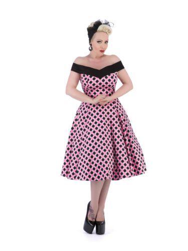 5458b4a888c40 Details about Classic 1950's Vintage Bardot Off Shoulder Pink Black ...