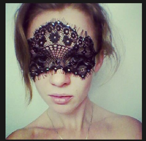 Black French Lace Face Mask or Headband Excellent for Valentine's Day, Gift for Her, Masquerade, Ball, Adult Fun. $25.00, via Etsy.