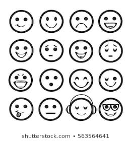 Set Of Outline Emoji Icons Different Emotional Expressions In Flat Design Vector Illustration Smiley Face Images Face Images Stock Photos