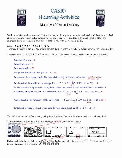 Measure Of Central Tendency Worksheet Best Of Measures Of Central Tendency  Worksheet For 8th 9th Grade In 2020 Central Tendency, Teaching Methods,  Worksheets