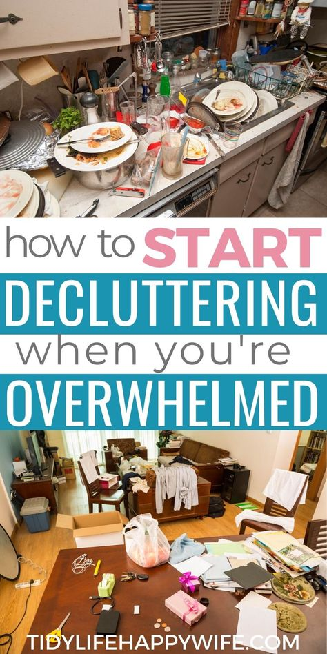 Clutter can be overwhelming, but don't let it keep you from doing anything at all. Find out how clutter impacts your life and home, where to get started decluttering, and how to stay motivated to declutter your entire house. Clutter Organization, Home Organization Hacks, Organizing Your Home, Organizing Tips, Happy Wife, Happy Husband, Clutter Solutions, Messy House, Declutter Your Life