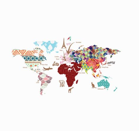 Cultural World Map Decal- Pattern Map Wall Decal - Celar Vinyl Decal - Nursery Room Decals - World Map Mural - Whole Wide World Decal