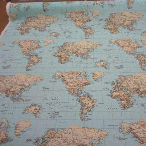 Stoff Karte Weltkarte Hellblau Kontinent Erde Weltkarte Erde