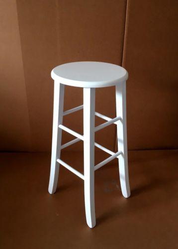 Sedie In Legno Laccate Bianco.Sgabello Sedia Legno Tondo Seduta Massello Alto 67 Cm Colore