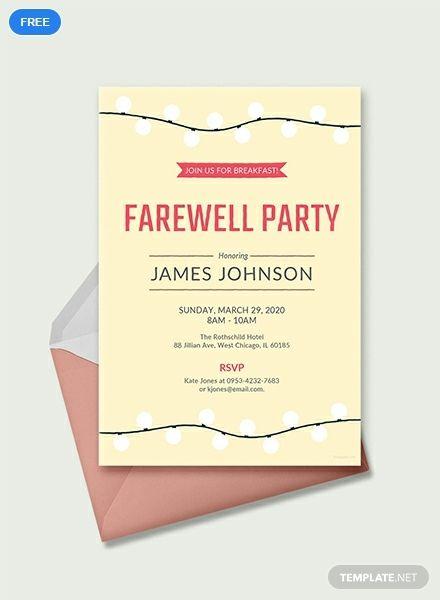 Free Farewell Breakfast Invitation Printable Invitation