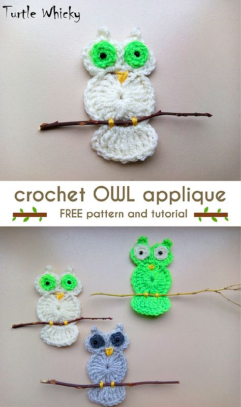 CROCHET OWL APPLIQUE | Turtle Whicky Crochet | Home | tejidos ...