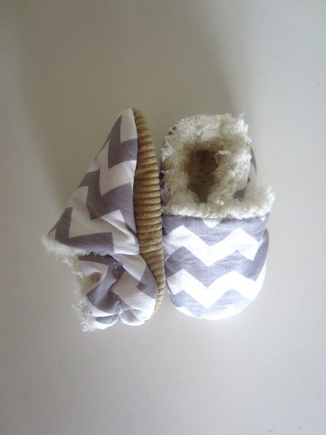 Gray Chevron Ready for Winter Baby Shoes